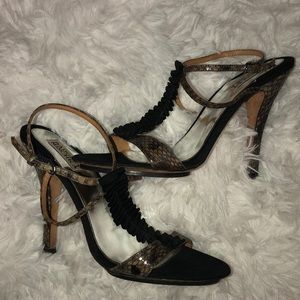"Badgley Mischka ""Raven"" Black Snake T-Strap Pumps"